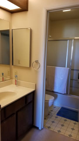 Bathroom with private shower and bath