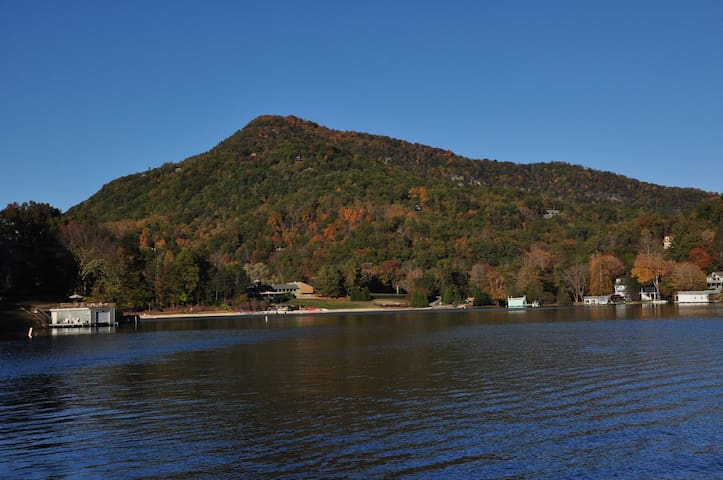 View of Rumbling Bald from the lake