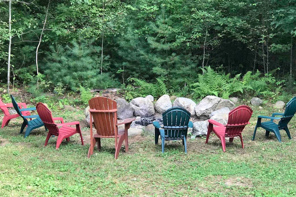 Massive fIre pit area with seating great for making s'mores and memories. Rental includes wood to get you started.