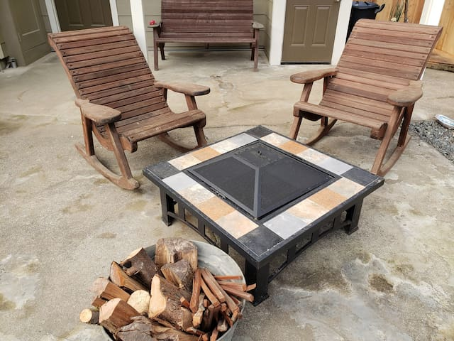 Redwood Rocking Chairs and Fire Pit