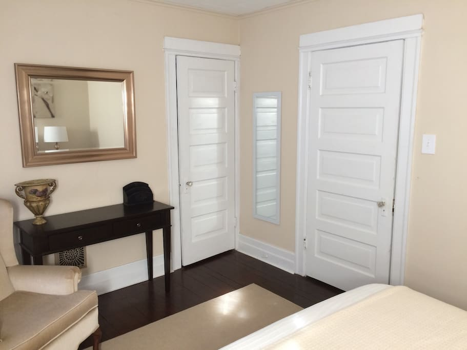 Full-length mirror and closet.