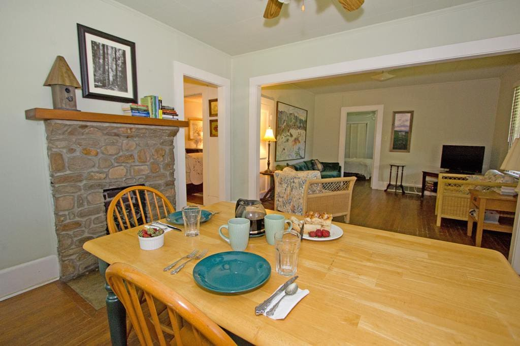 Open dining and living room.  Just right for romantic dining for two and large enough for  family game time.