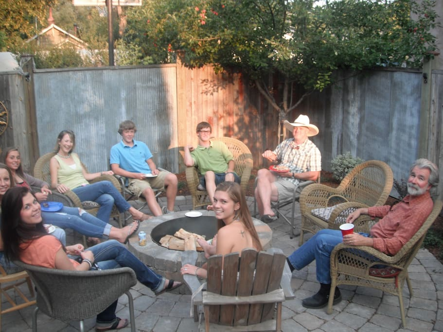 Sit around the fire pit, fire or no fire!