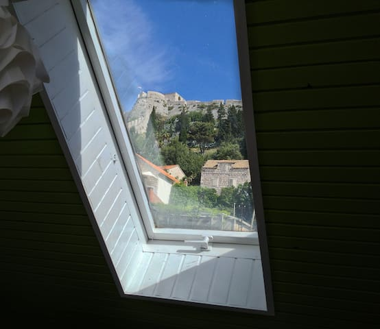View through the skylight of the communal shared kitchen.