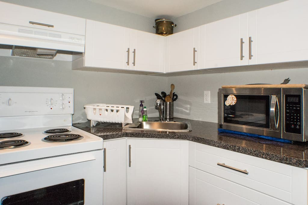 kitchen has microwave  and all equipment you need for a short-term stay