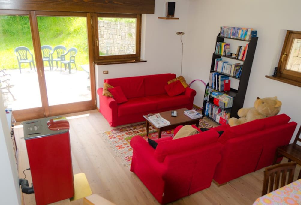 Half of the living room, with its friendly inhabitant! The sofa turns into a double bed.