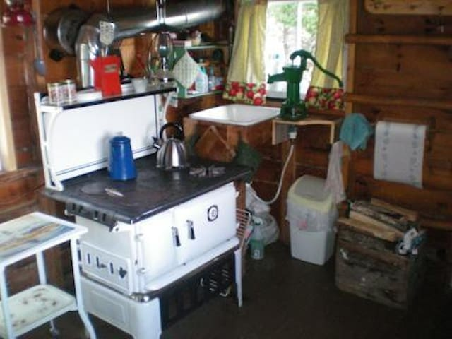 Propane cookstove with 2 burners and oven. Hand pump rain water system.