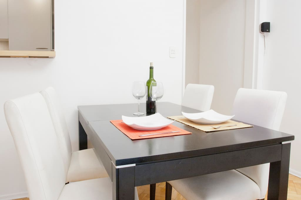 Comfortable dinning table. Get's bigger if you need extra space to receive more people.