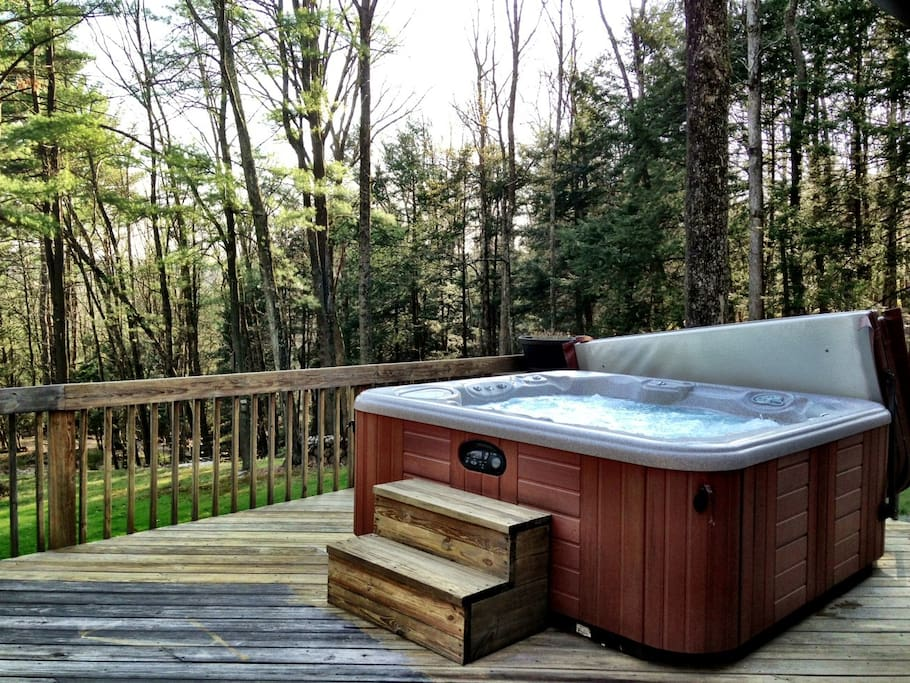 High end large Hottub on the very large deck, facing the 8 acres of Private land