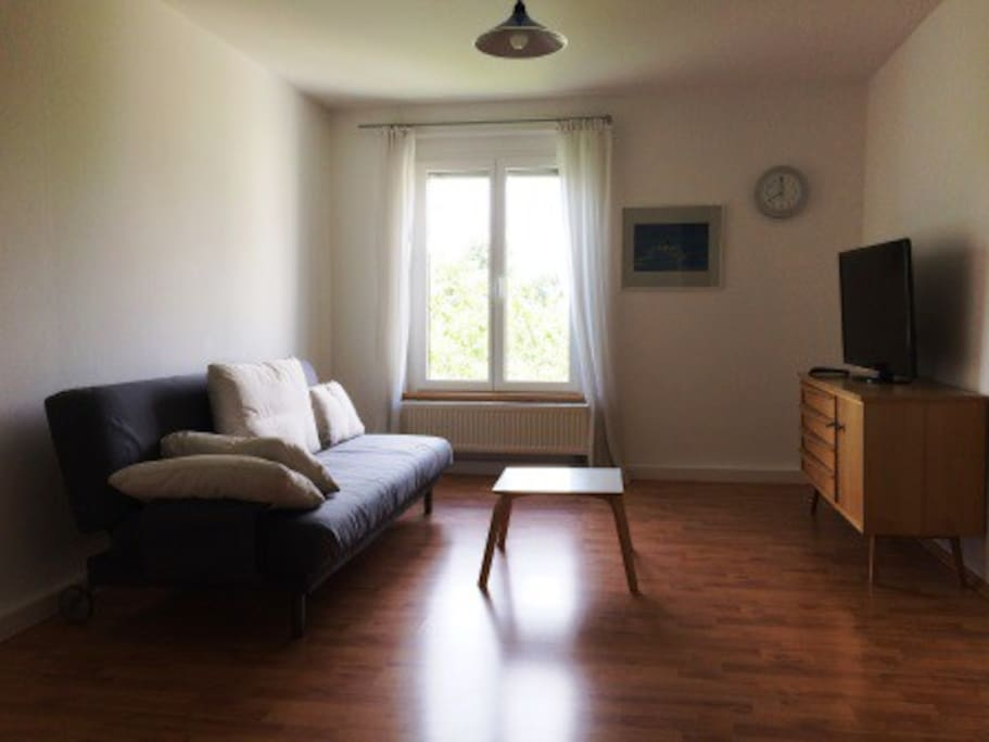 Das Wohnzimmer mit Flachbildschirm. Der Fenster gibt einen Blick ins Grüne.  Das Sofa könnte als 4. Bett genutzt werden.