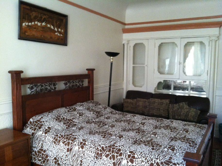 Part view of the comfortable large queen bed