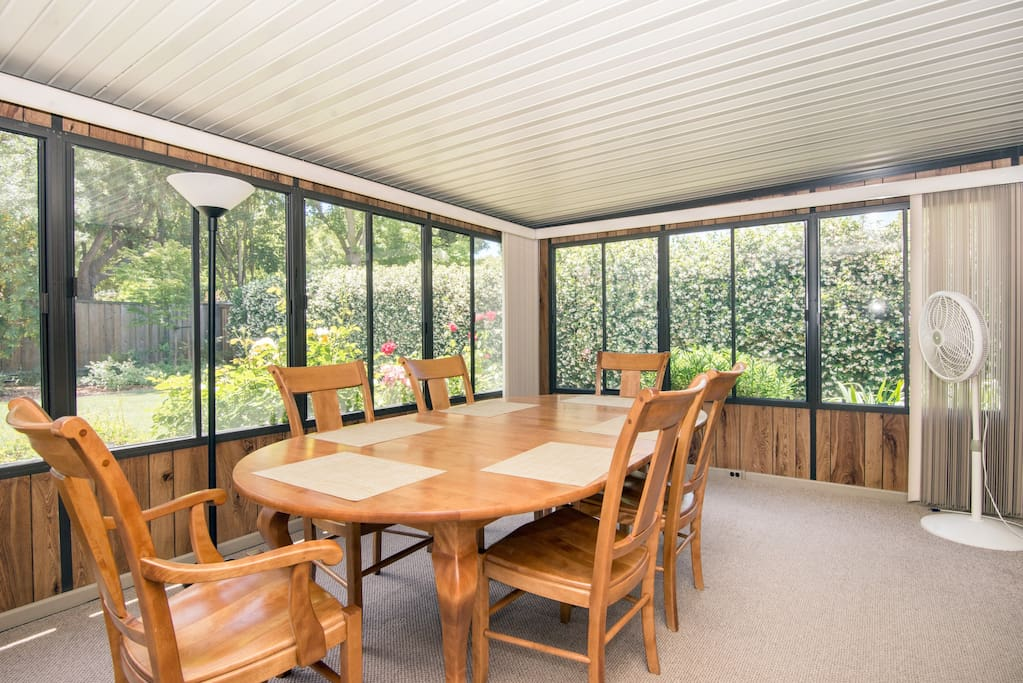 Dining table in sunroom