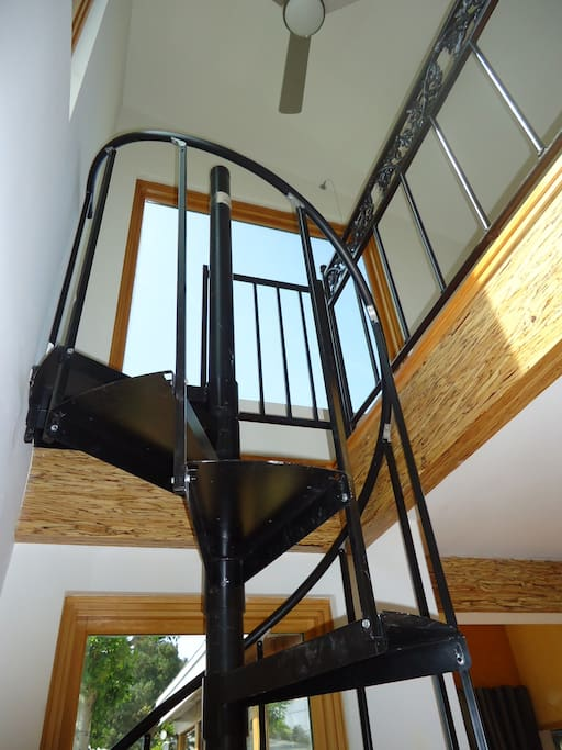 Spriral stair case to lead a loft room, it is 2' wide