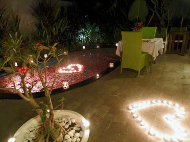 honeymoon set up and decoration at private pool