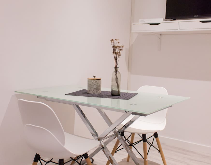Dinning table with flat screen TV