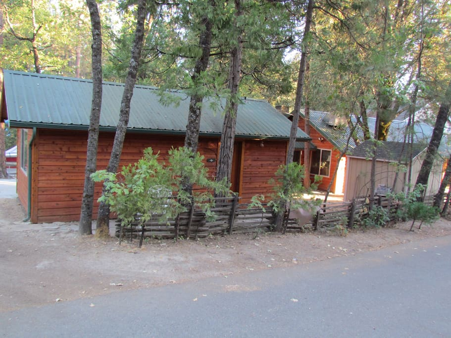 Front side of chalet with door