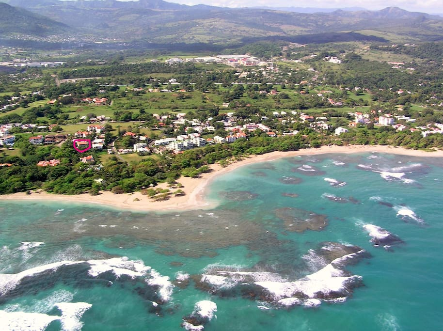 Costambar community and the beach. Our property is marked with a red circle.
