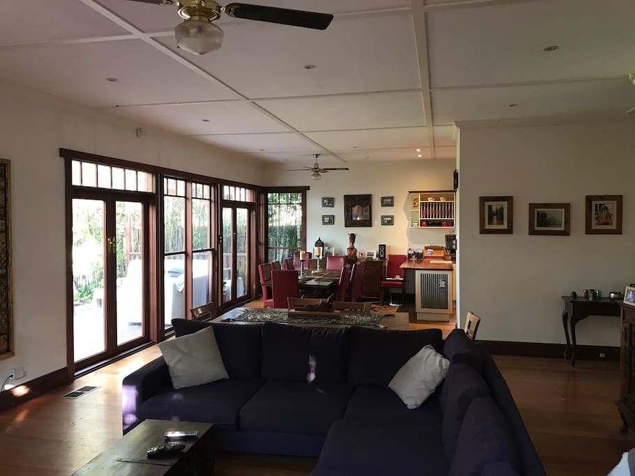 Large entertainment and dining area at rear of house