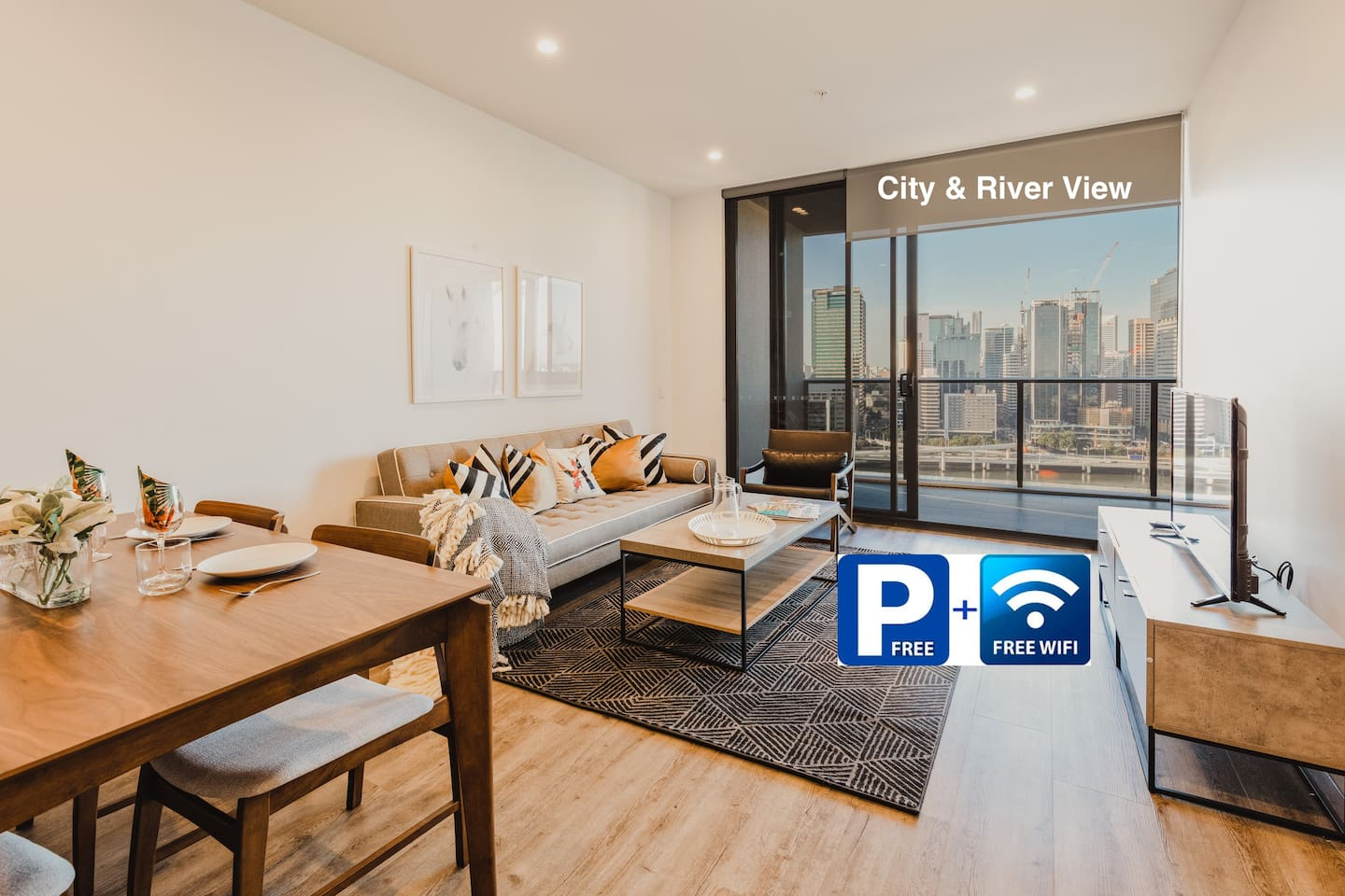 City and river view from your living room and balcony