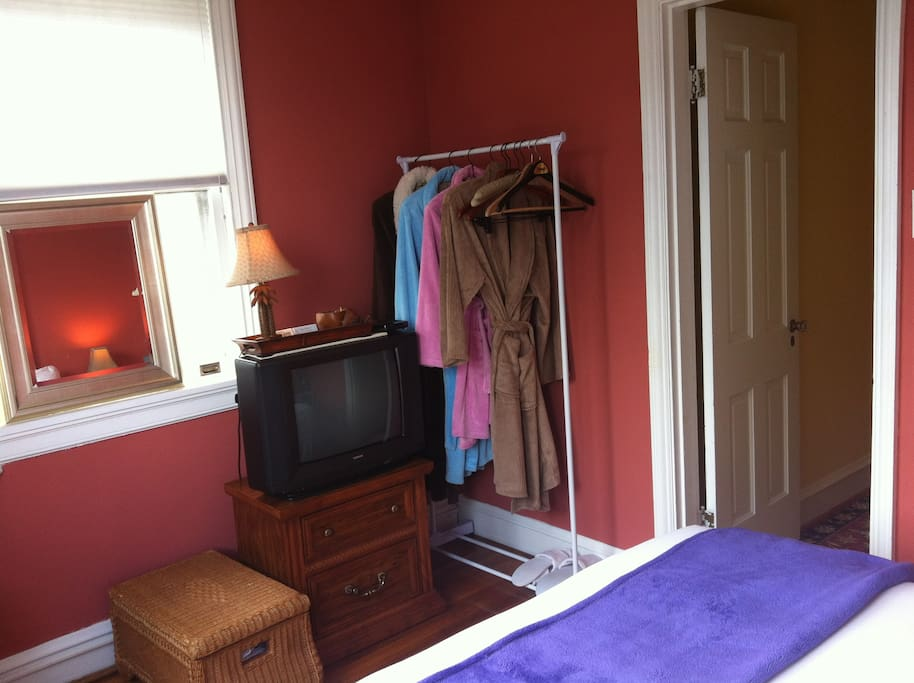 We provide robes so leave yours at home! (We now have a flat screen TV--updated pics to come)