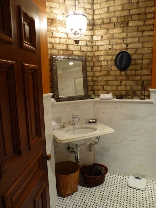 Private bathroom with period detail restoration includes shower for 2