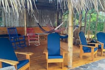 Bamboo cabana with thatched roof is great from napping in the hammocks, or watching the lake.