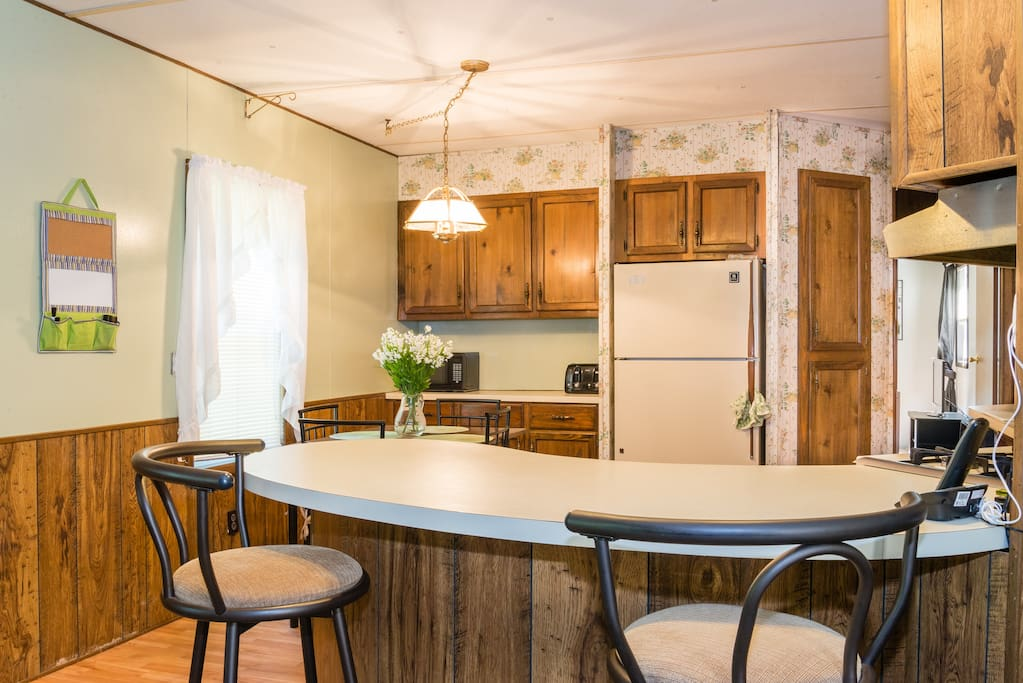 Kitchen Counter/Island with 2 Padded Barstools