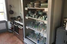 Upstairs kitchen stove/oven, pantry.