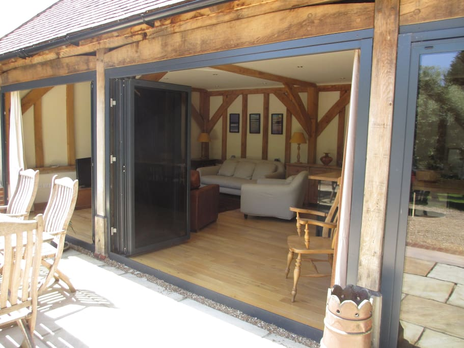 Bi-fold doors are great for sunny days.