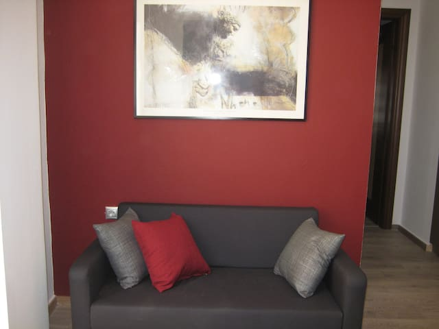 sofa bed in the sitting area, converts into a single bed 90X200