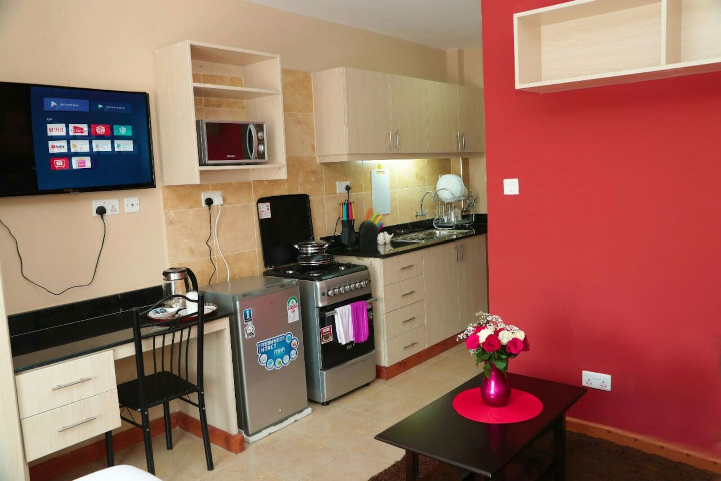your palace like accommodation contains a fully functional kitchen with cutlery, state of the art entertainment including wifi and a smart TV allowing you to watch your favorite program just as if you were at home