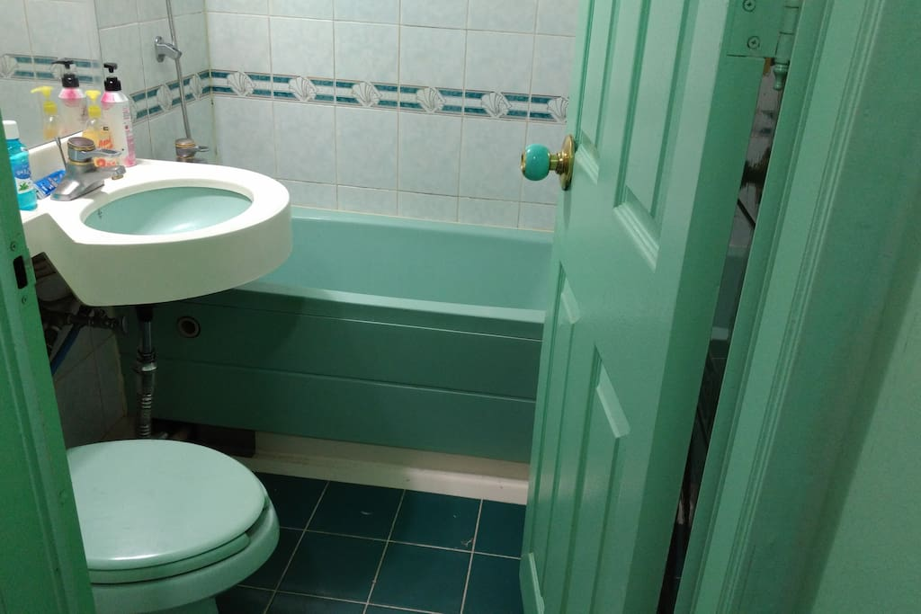 This bathroom is complete with a shower head, bath tub, mirror, toilet and sink.