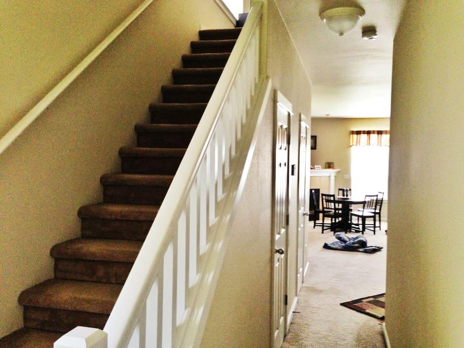 Bedrooms upstairs, living + dinning + kitchen on main floor