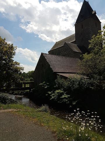 wooden bridge across the river to the Abbey