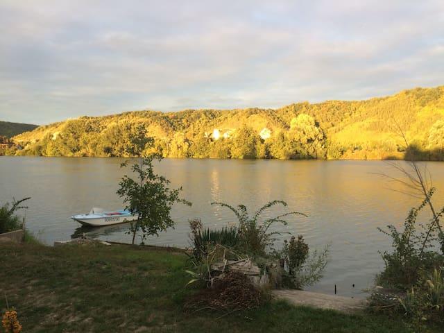 coucher de soleil sur les falaises, face à la maison