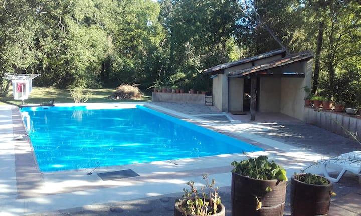 appartement au milieu des bois, piscine, parking.