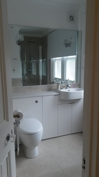 Contemporary shower room with hand held 'bidet' washer