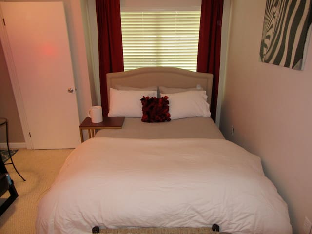 Queen size bed for you or two. Warm quarters for a sound, plush sleep