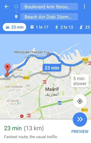 From the apartment to Ain Diab Beach