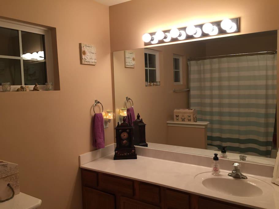 Very large shared bathroom.