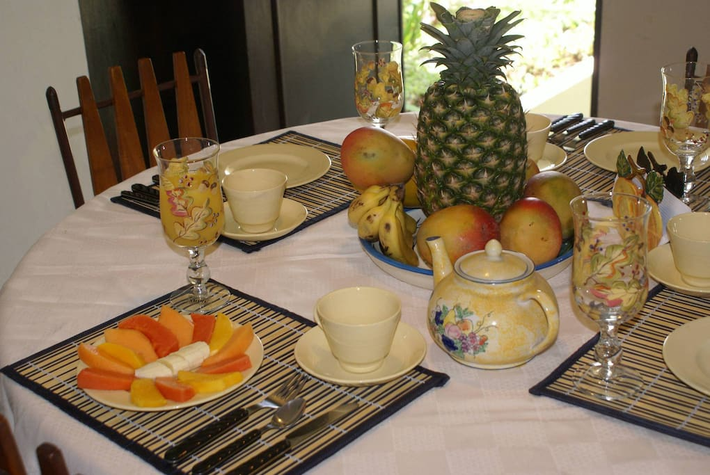 Fruit plate, orange juice, coffee