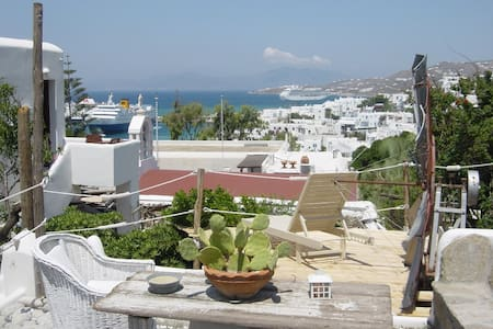 double bed room jacuzi uper roof terace 122 town - Mykonos
