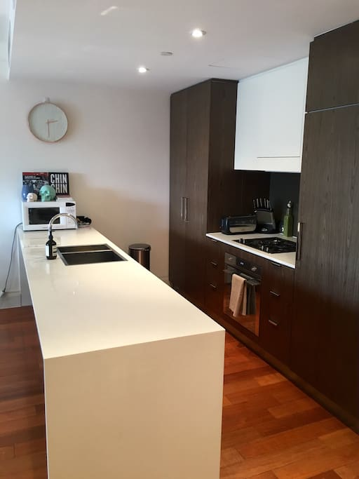 Modern kitchen with all cooking equipment provided