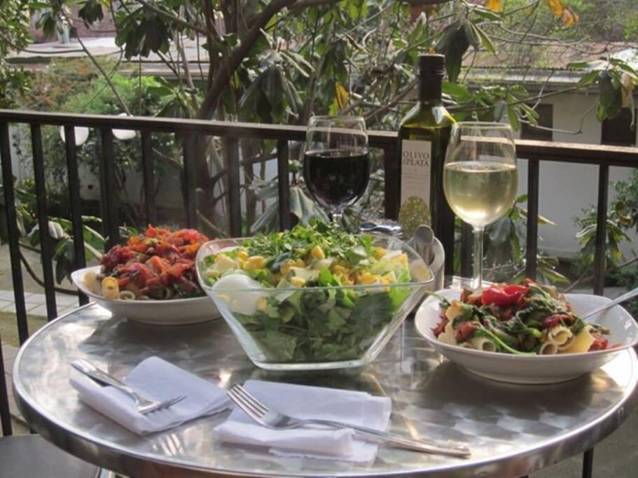 Having Lunch in the terrace.