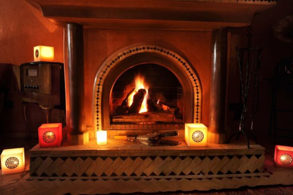 FIRE PLACE IN A WINTER NIGHT