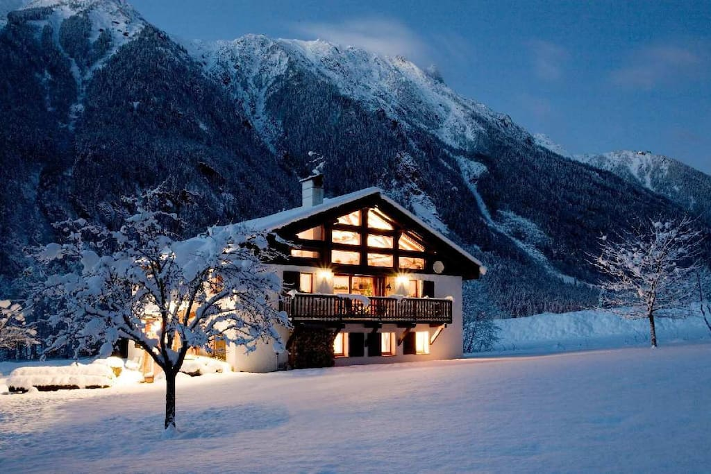Exterior of chalet in Winter