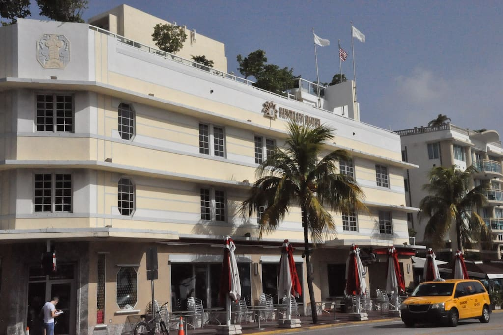 The Bentley Hotel - Where we are located - Ocean Drive and Fifth Avenue.