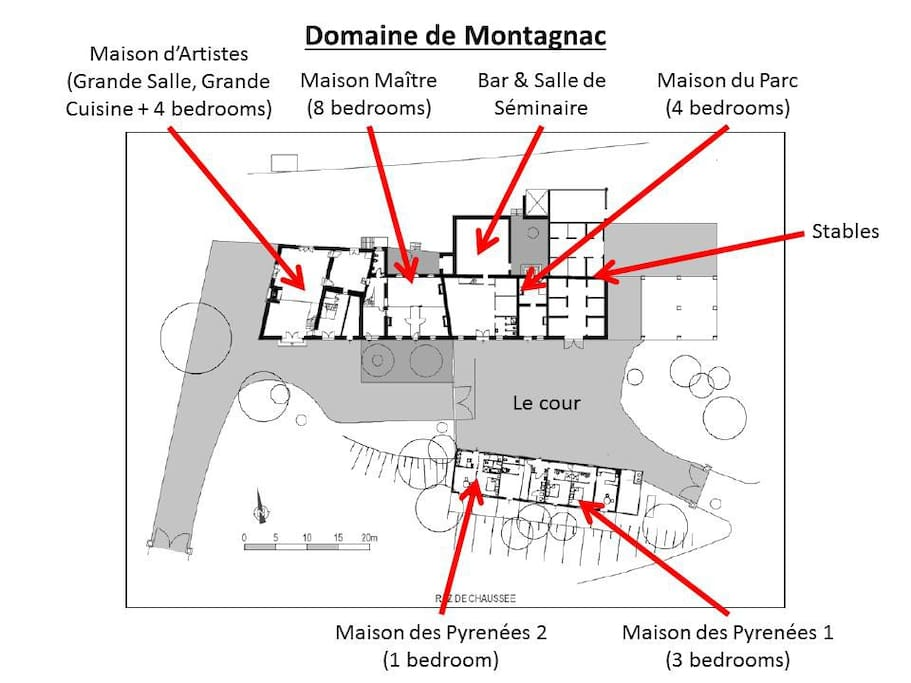 Plan of the domaine, showing the different houses