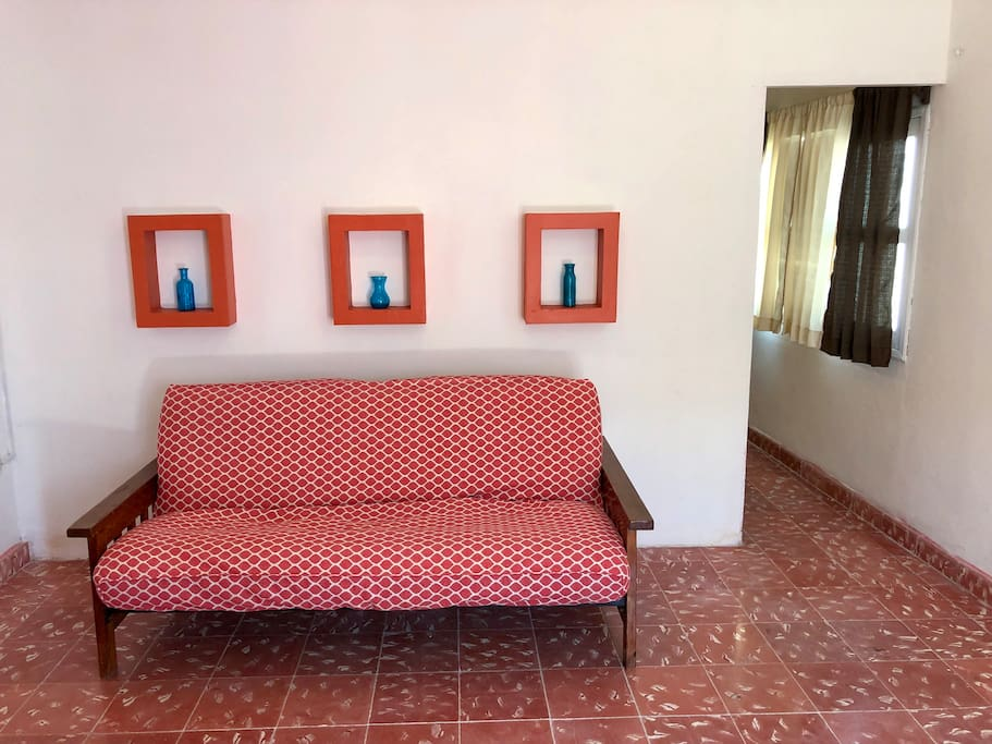 Habitación uno, vista del sofá cama Queen Size
