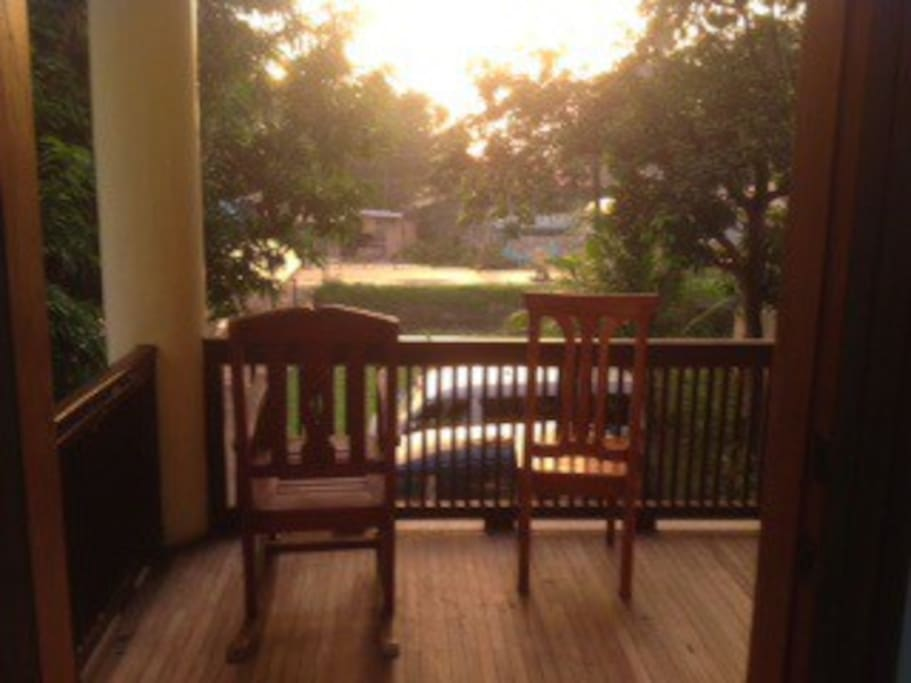 Rocking chair on the balcony.